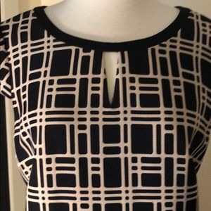 Tahari cream and black geometric pattern dress